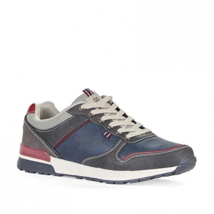 Zapatos sport Sweden Klë azules combinado con rojo - Querol online