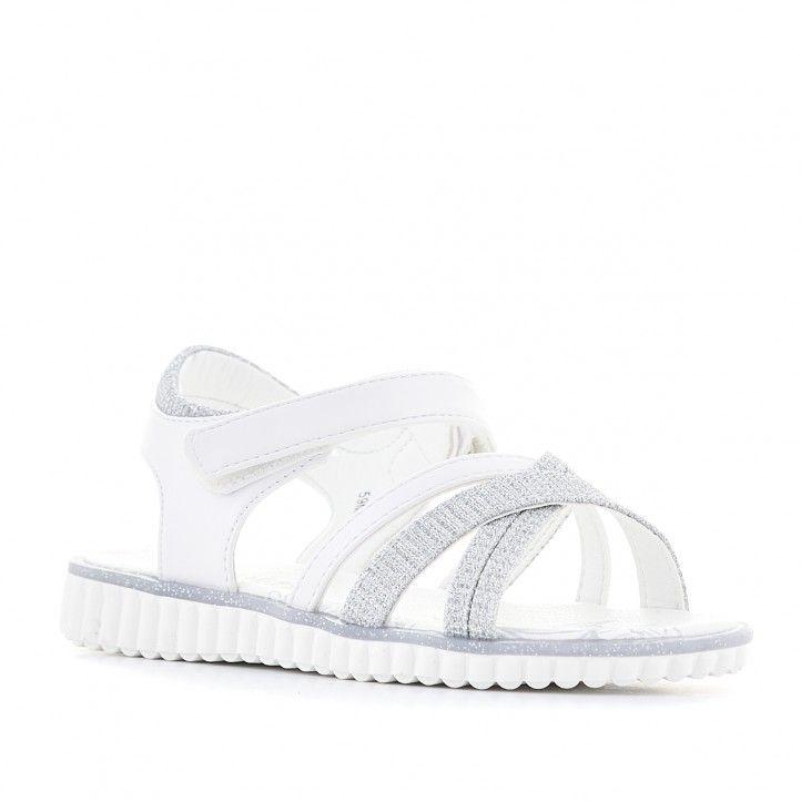 sandalias QUETS! blancas con detalles grises - Querol online