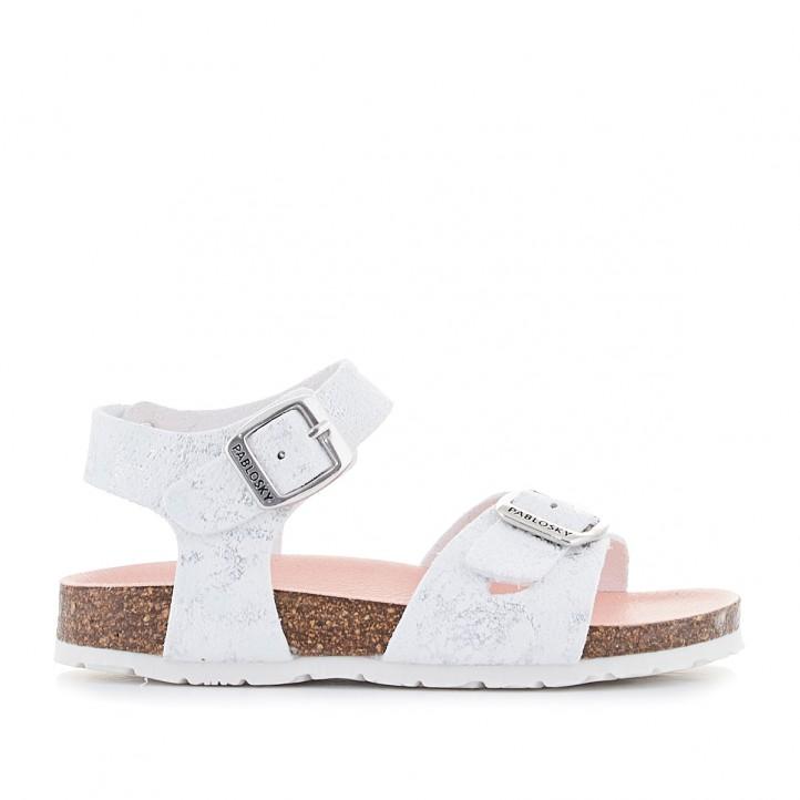 sandalias Pablosky blancas con detalles grises - Querol online