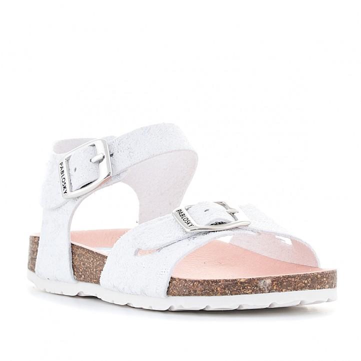 sandàlies Pablosky blancas con detalles grises - Querol online