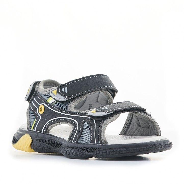 sandalias QUETS! negras con partes amarillas - Querol online