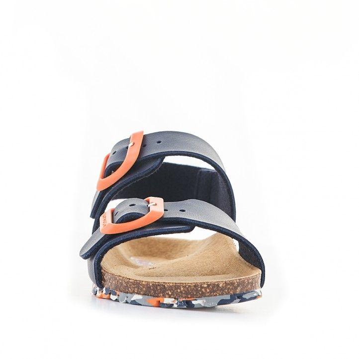 sandalias GARVALIN azules oscuro con hebilla naranja - Querol online