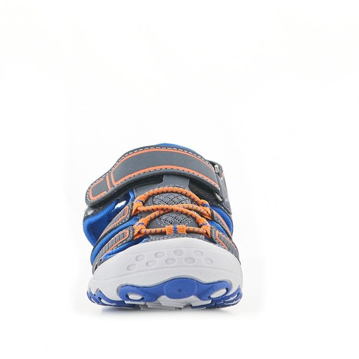 sandalias QUETS! grises con detalles en naranja e interior azul - Querol online