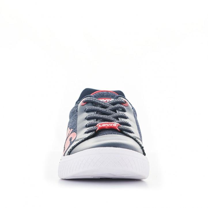 Zapatillas lona Levi's azules con letras en rojo - Querol online
