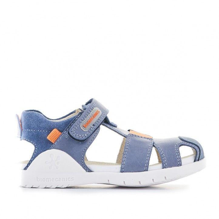 Sandalias abotinadas Biomecanics azules y suela blanca - Querol online