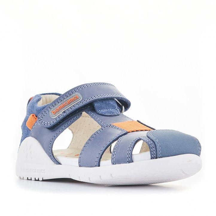 Sandàlies abotinades Biomecanics sandàlies blaves i sola blanca - Querol online