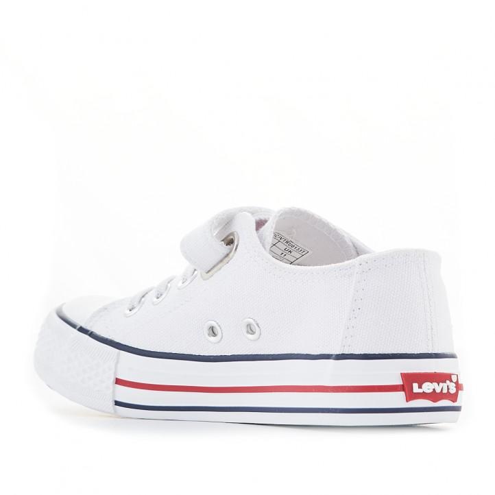 Zapatillas lona Levi's blancas de lona con cierre de cordones elásticos y velcro - Querol online