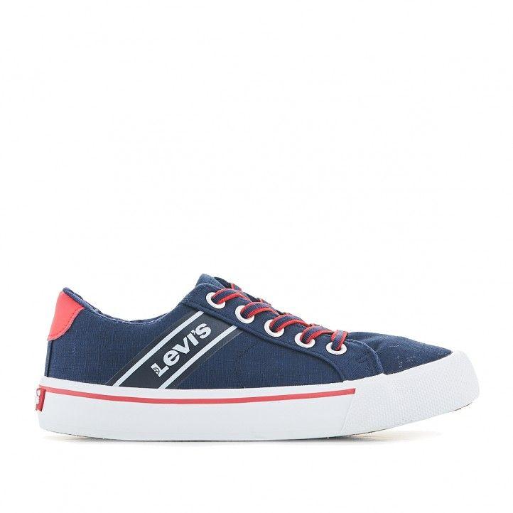 sabatilles lona Levi's blaves amb línia blava i vermella - Querol online