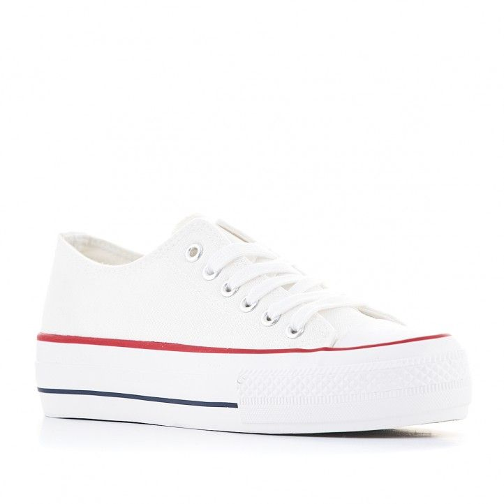 Zapatillas lona Owel blancas con plataforma - Querol online