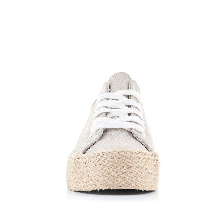 Zapatillas lona Owel grises con plataforma de esparto - Querol online