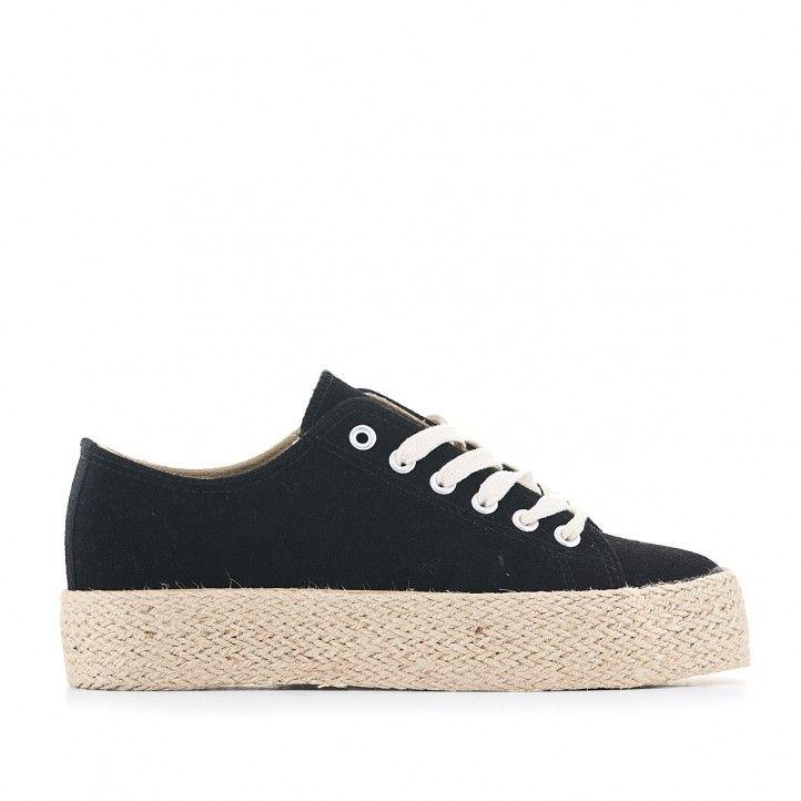 Zapatillas lona Owel negras con plataforma de esparto - Querol online