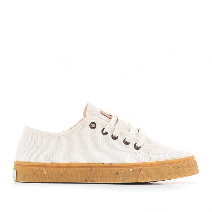 Zapatillas lona SHOECOLOGY beige y cordones