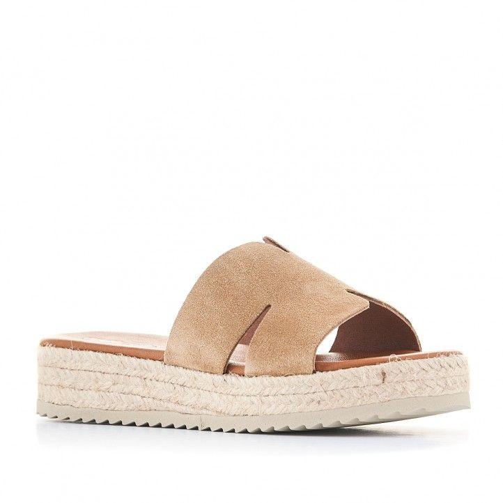 Sandalias plataformas Redlove de color marrón y suela de esparto - Querol online