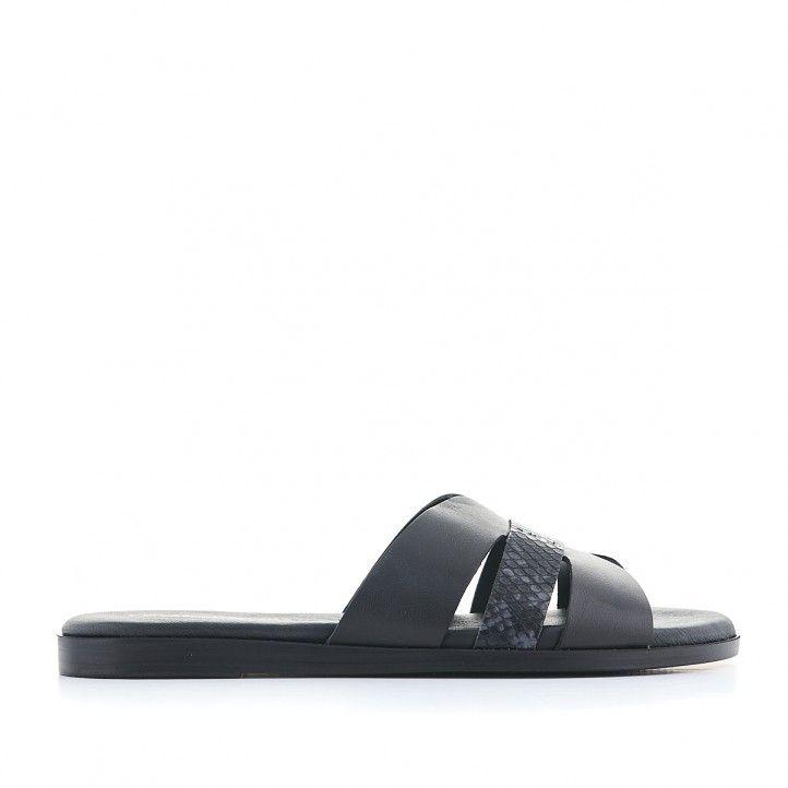 Sandalias planas Redlove negras y con tres tiras - Querol online