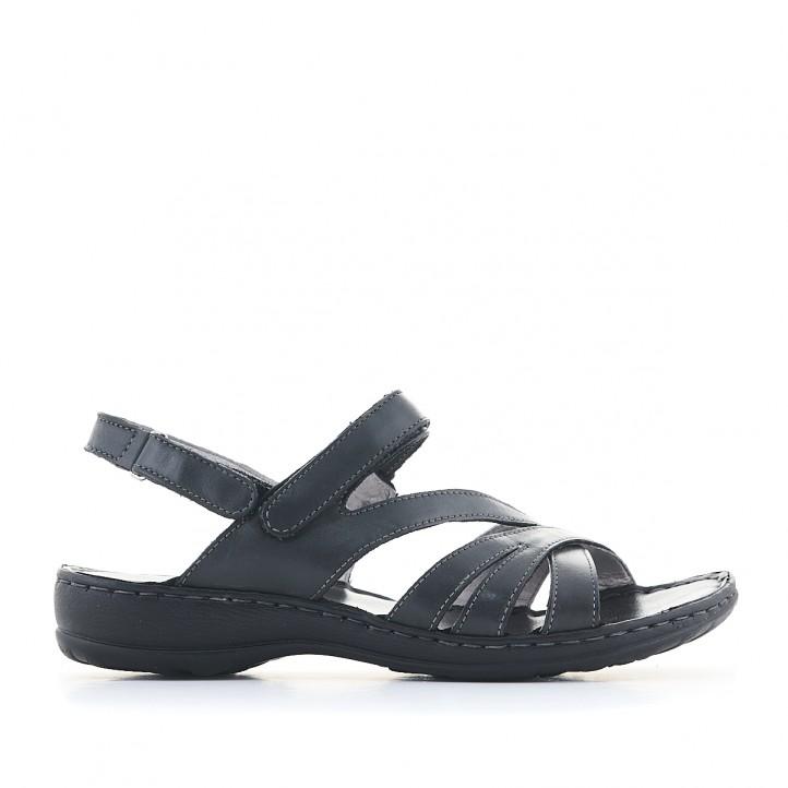 Sandàlies planes Walk & Fly negres amb diverses tires i sola fosca - Querol online