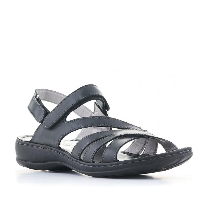 Sandalias planas Walk & Fly negras con varias tiras y suela oscura - Querol online