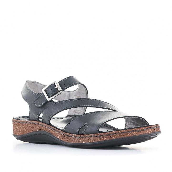 Sandàlies planes Walk & Fly negres amb diverses tires i sola marró - Querol online