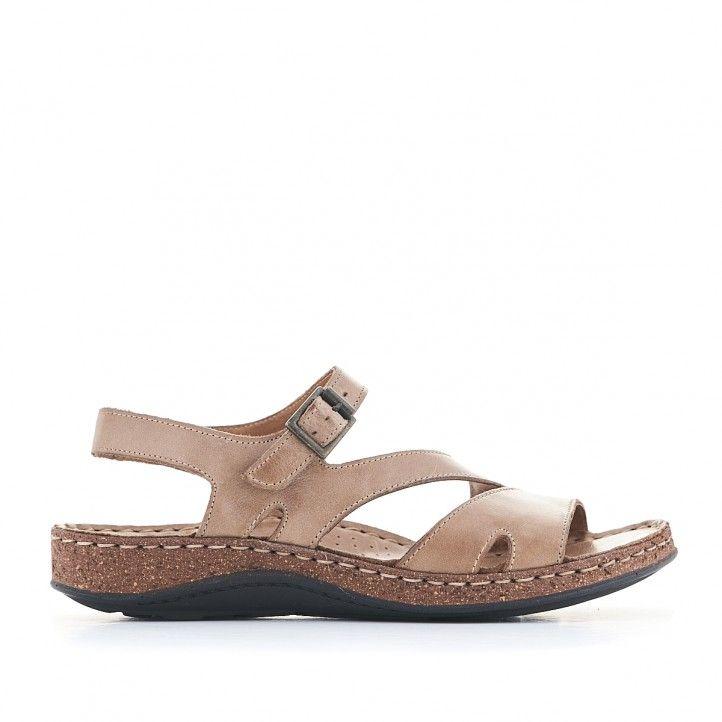 Sandàlies planes Walk & Fly marrons amb diverses tires i sola marró - Querol online