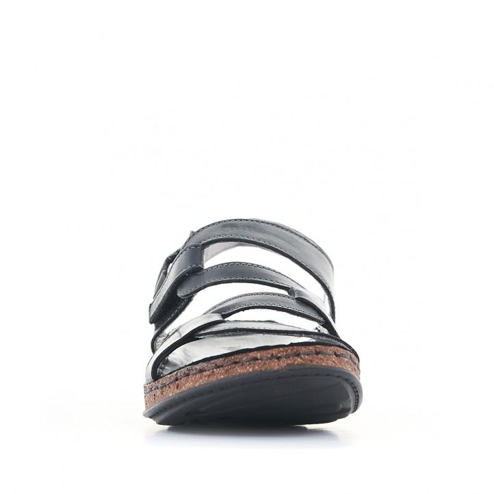 Sandàlies planes Walk & Fly negres amb tires en cadena - Querol online