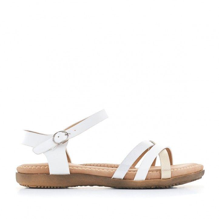 Sandàlies planes You Too blanques i agafades al turmell - Querol online