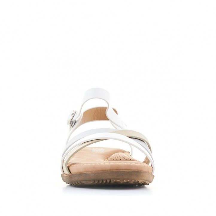 Sandalias planas You Too blancas y cogidas al tobillo - Querol online