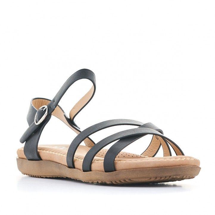 Sandalias planas You Too negras y cogidas al tobillo - Querol online