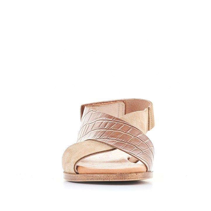 Sandàlies planes Redlove marrons amb tires amples i animal print - Querol online
