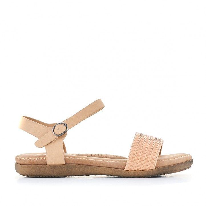 Sandalias planas You Too crema con pala delantera trenzada - Querol online