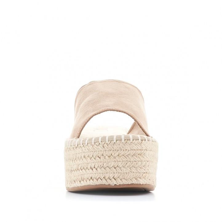 Sandàlies plataformes Owel color crema amb gran pala i plataforma - Querol online