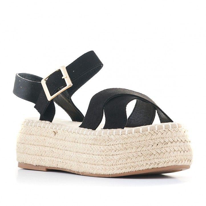 Sandàlies plataformes Owel de plataforma amb tires negres i sivella - Querol online