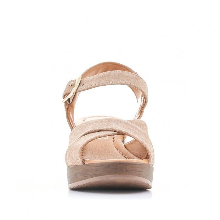 Sandàlies taló Redlove color crema amb tires creuades - Querol online