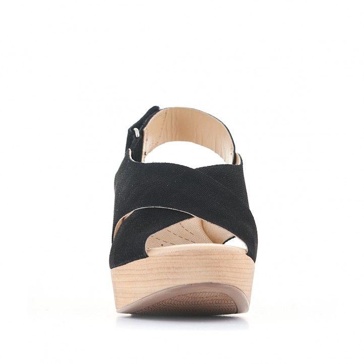 Sandalias tacón Redlove negras con tira ancha cruzada negra - Querol online