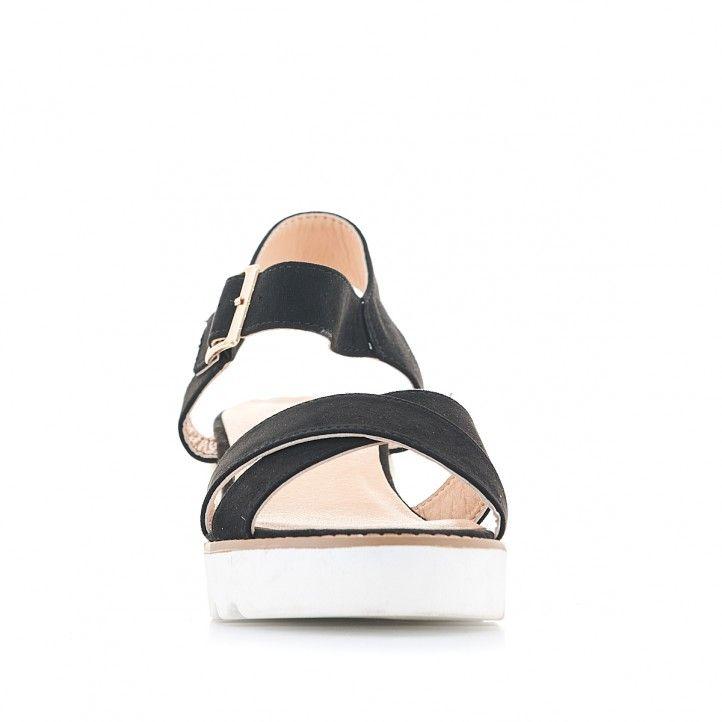 Sandalias cuña Owel negras con suelo de dos estilos - Querol online