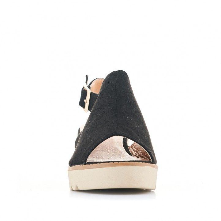 Sandalias cuña Owel negras con empeine cubierto - Querol online