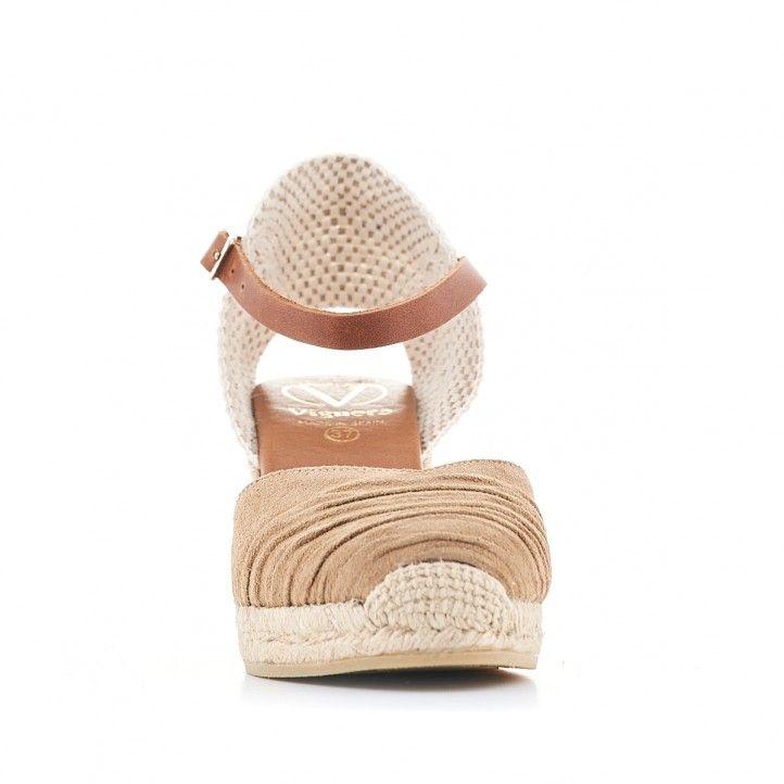 Sandalias cuña Viguera de esparto con puntera marrón arrugada - Querol online