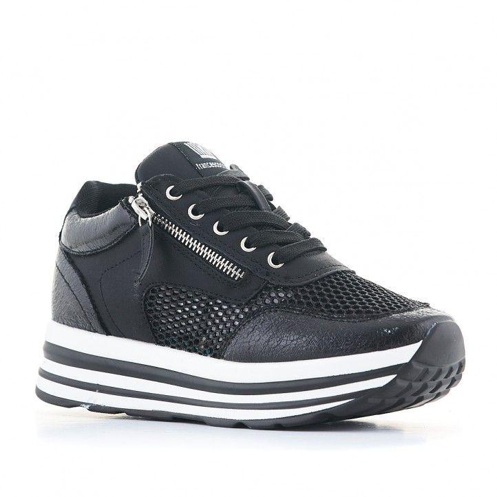 Zapatillas deportivas Francesco Milano negras con cremallera lateral - Querol online