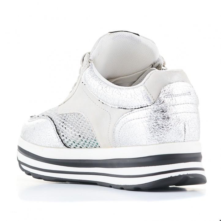 Zapatillas deportivas Francesco Milano color plata con cremallera lateral - Querol online