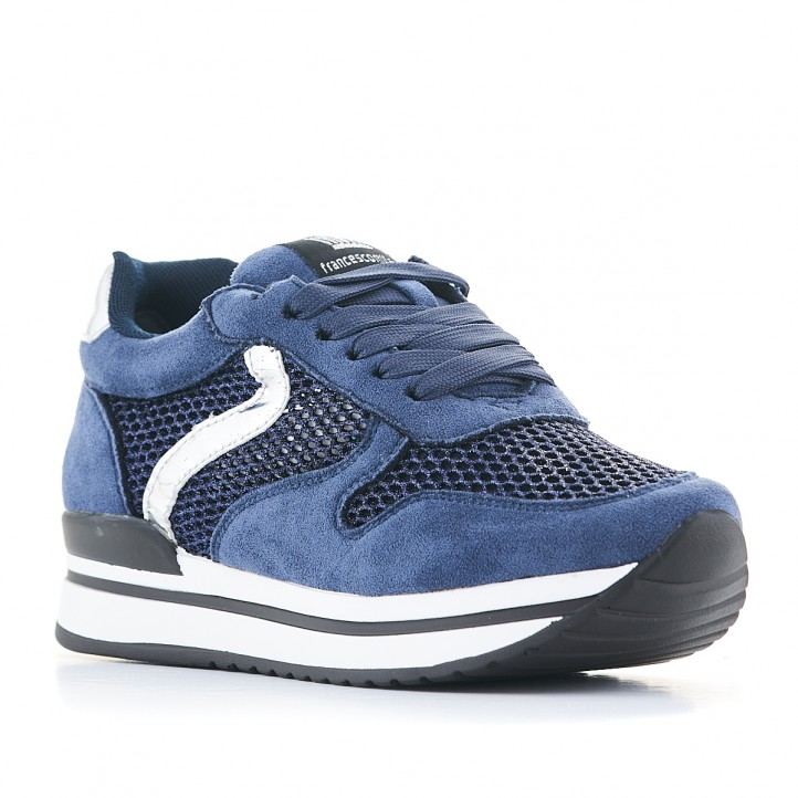 Zapatillas deportivas Francesco Milano azules con línea blanca - Querol online