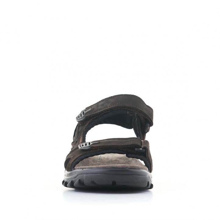 Sandàlies Vicmart marrons de doble tira amb velcro - Querol online