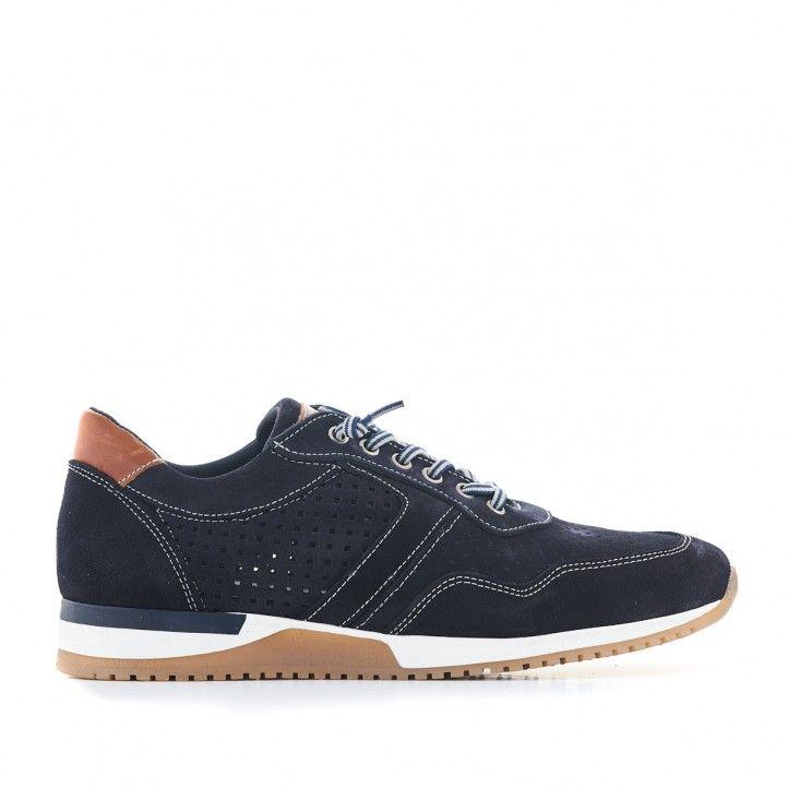 Zapatos sport Lobo azules con piel agujereada - Querol online