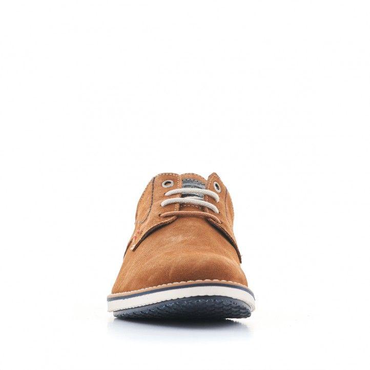 Zapatos sport Lobo de piel marrones y detalles en azul y rojo - Querol online