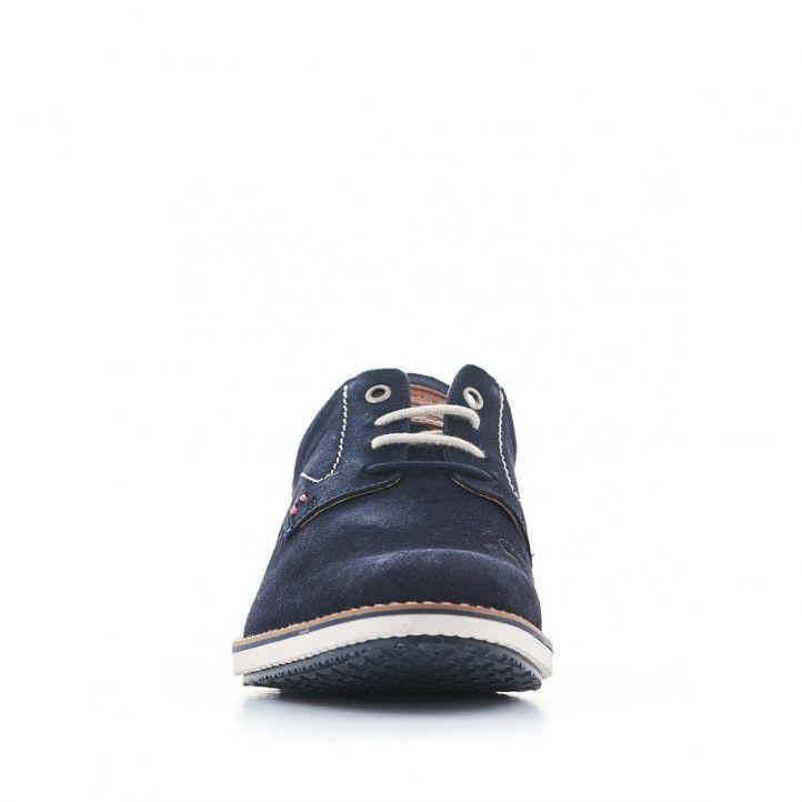 Zapatos sport Lobo de piel azules con detalles en marró y rojo - Querol online