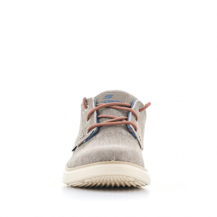 Zapatos sport Skechers grises de lona con cordones marrones - Querol online