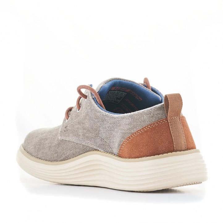 Sabates sport Skechers grises de lona amb cordons marrons - Querol online