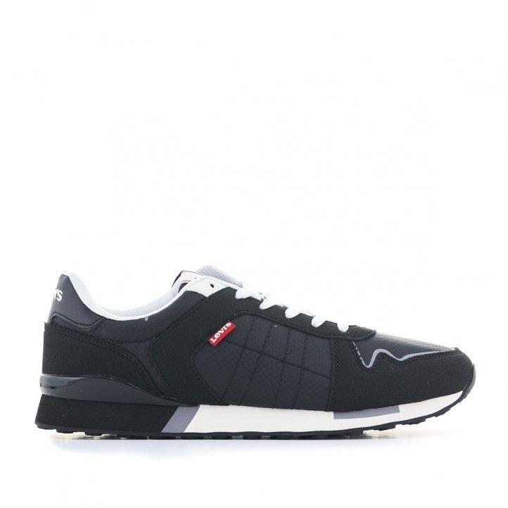 Zapatillas deportivas Levi's negras con cordones blancos - Querol online