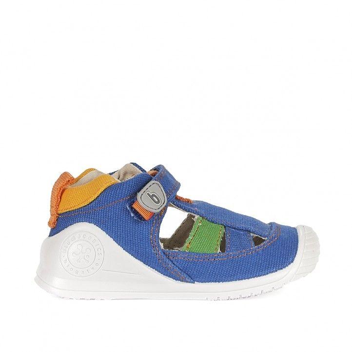Sandalias abotinadas Biomecanics azules con detalles verdes y naranjas - Querol online