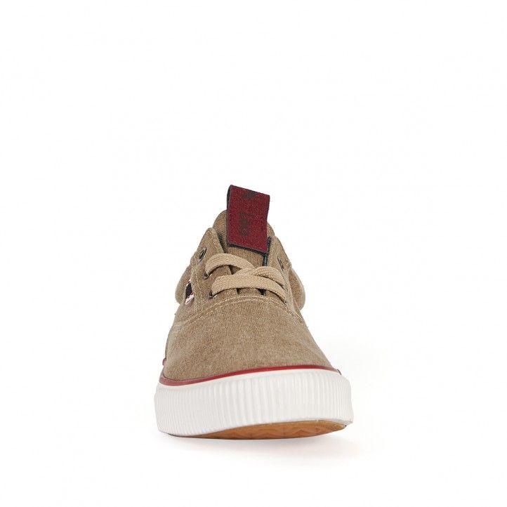 Zapatillas lona Lois marrones con detalles en rojo - Querol online