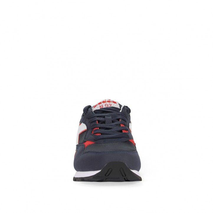 Zapatillas deportivas Diadora azules con partes blancas y rojas - Querol online
