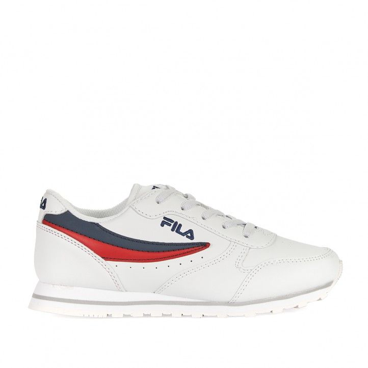 Zapatillas deporte Fila blancas con franja azul y roja - Querol online