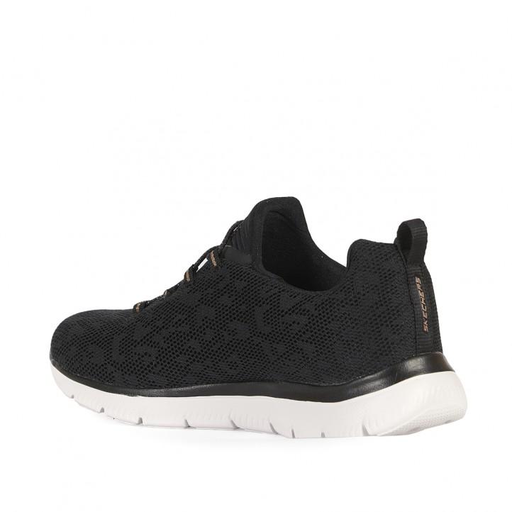 Zapatillas deportivas Skechers negras con detalle en dorado - Querol online